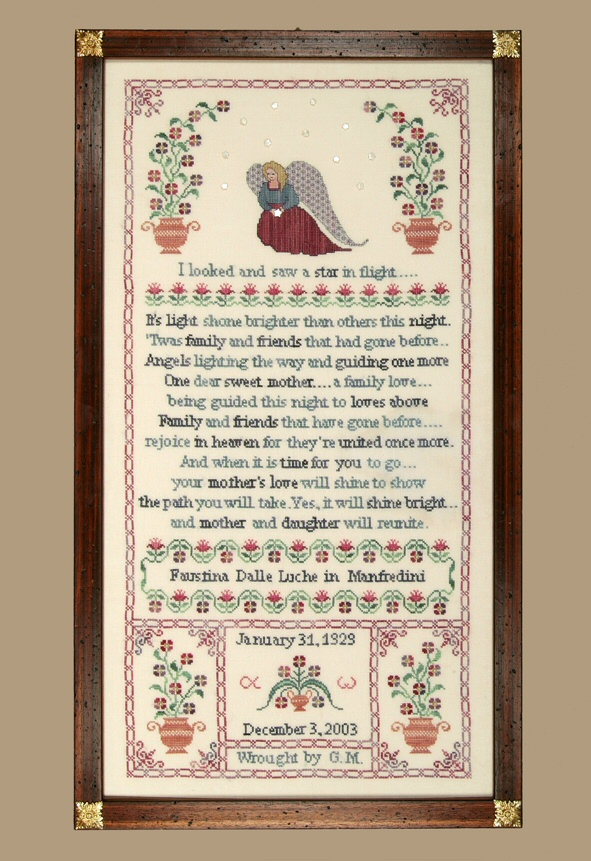 a sampler dedicated to a mother with an angel and flowers