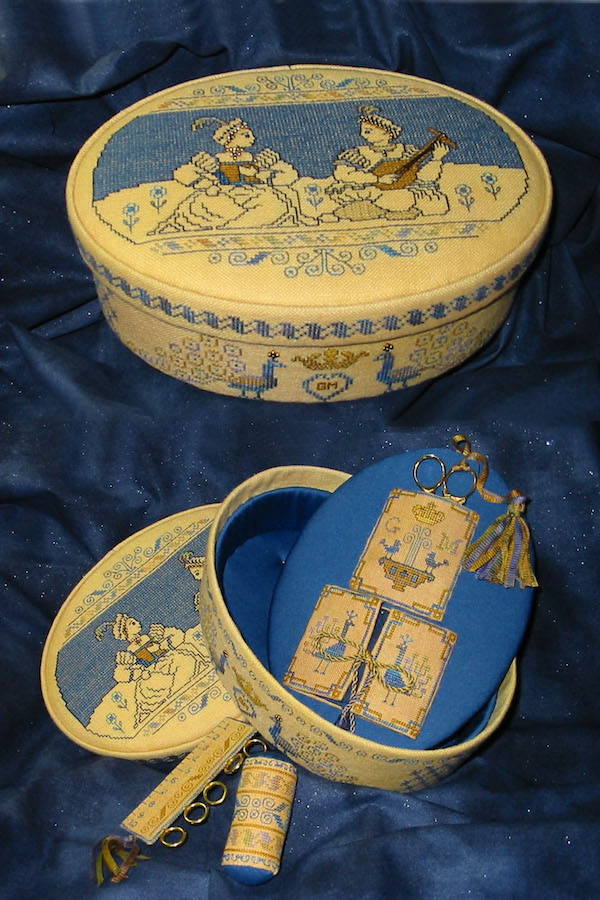 sewing box in blue and gold in italian renaissance motifs