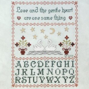 sampler with swans and vases and alphabet love and the gentle heart are one same thing