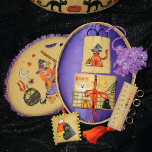 sewing box halloween orange and purple black cats cauldrons