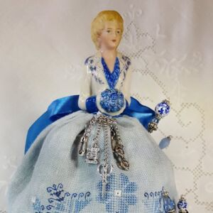 blue pincushion doll denise by giulia punti antichi embroidered
