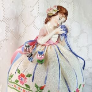 Capodimonte pincushion doll embroidered and designed by Giulia Punti Antichi