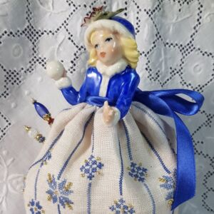 pincushion doll Winter by Giulia Punti Antichi porcelain doll holding snowball with embroidered gown