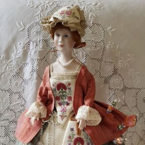 pincushion doll Sophia Amelia by Giulia Punti Antichi porcelain half doll embroidered gown