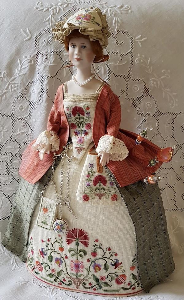 pincushion doll Sophia Amelia by Giulia Punti Antichi porcelain half doll embroidered gown