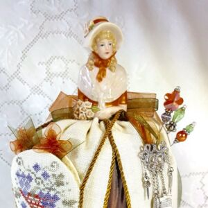 janice pincushion doll cross stitch thanksgiving embroidery