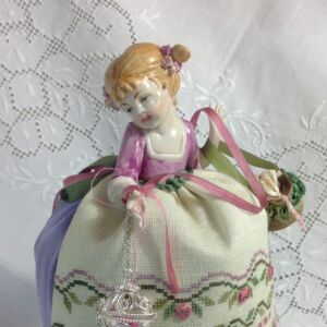 Embroidered pincushion porcelain half doll by Giulia Punti Antichi