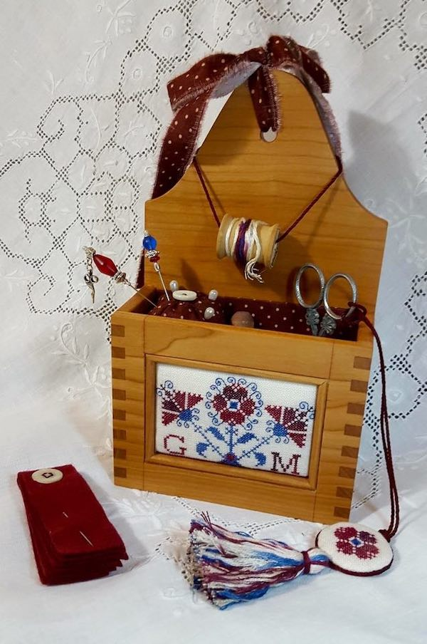 embroidered wooden box
