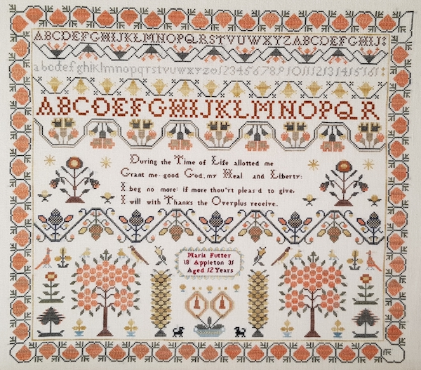 sampler reproduction of maria futter appleton from 1831 in fall colors with alphabet and trees