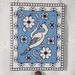 blue bird assisi ornament emmbroidered