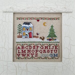embroidered little sampler with alphabet and christmas tree deer and wooden house