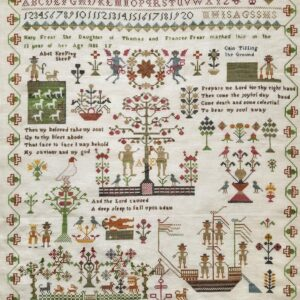 reproduction of antique embroidered sampler by mary frear with trees boats pastures sheep