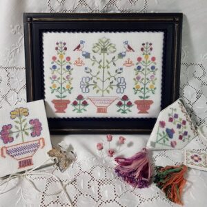 sewing chest with flowers and geometric decor