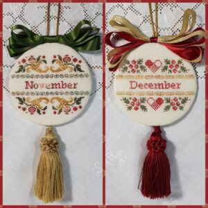 two christmas ornaments embroidered with bow and tassle for months of November and of December in Gold Green and Red