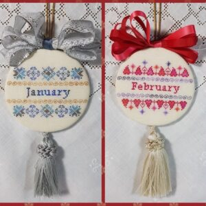 two christmas ornaments embroidered with bow and tassle for months of January and february