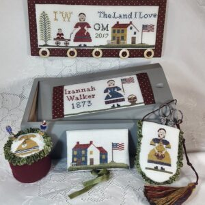 sewing box with motifs by sampler of izannah walker