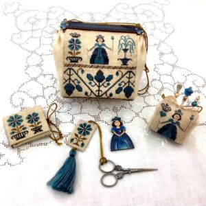 sewing purse in teal with tassel needlebook, pincushion, scissor fob