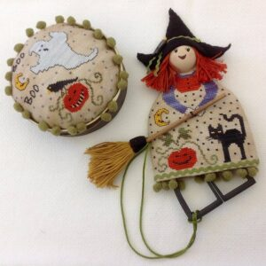 doll scissor case and pincushion halloween theme