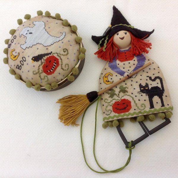 doll scissor case and pincushion halloween theme