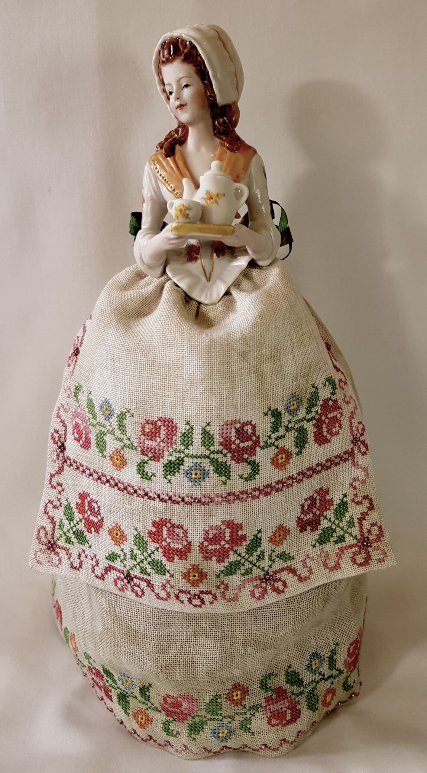 the chocolate lady porcelain half doll with stitched skirt by giulia punti antichi