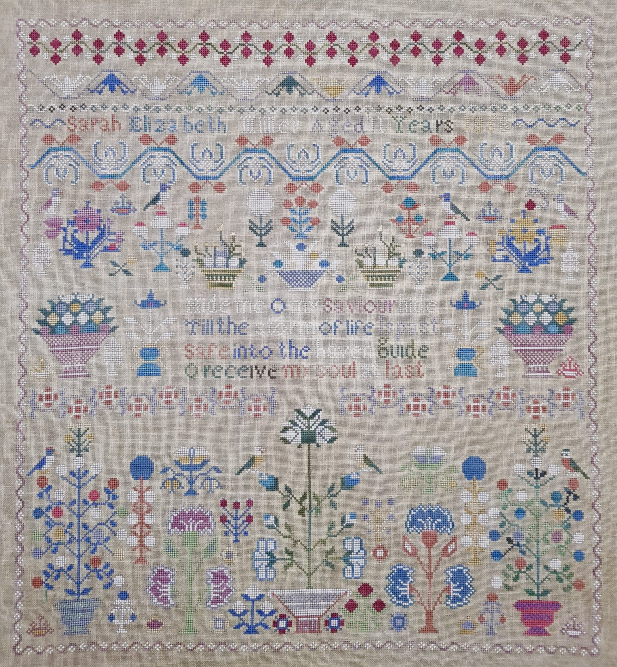 sampler in blues and white and red sarah elizabeth miller
